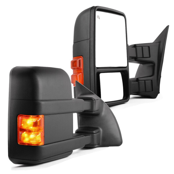 CHROME POWER TOWING MIRRORS+AMBER SIGNAL TELESCOPING FOR 99-07 FORD F SUPER DUTY