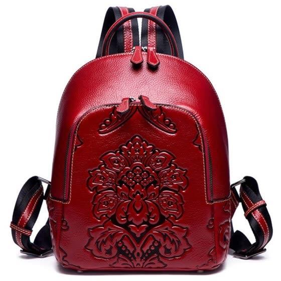 Vintage Women Backpack School Bags for Teenage Girls Shoulder Bag Female Oil Wax Leather Backpacks,Red