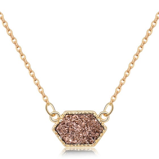 Natural Stone Pendant Necklace Fashion Crystal Rock Necklace Gold Color Chain Quartz Long Necklace For Women Gift