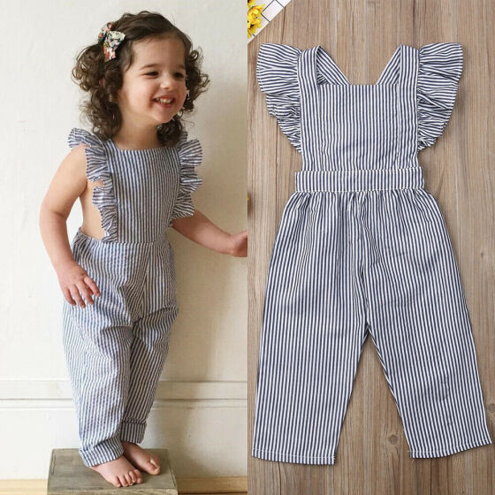 UK Toddler Baby Girls Clothes Ruffle Cotton Jumpsuit Playsuit One-Pieces Outfits