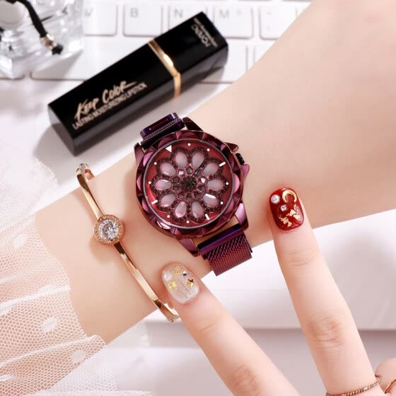 Year watch ladies starry inlaid waterproof diamond square quartz steel belt watch women's watch