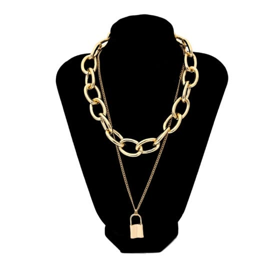 Vintage Punk Lock Pendant Gold Necklace For Women Double Layered Thick Long Chains Miami PadLock Necklace Chunky Gothic Jewelry