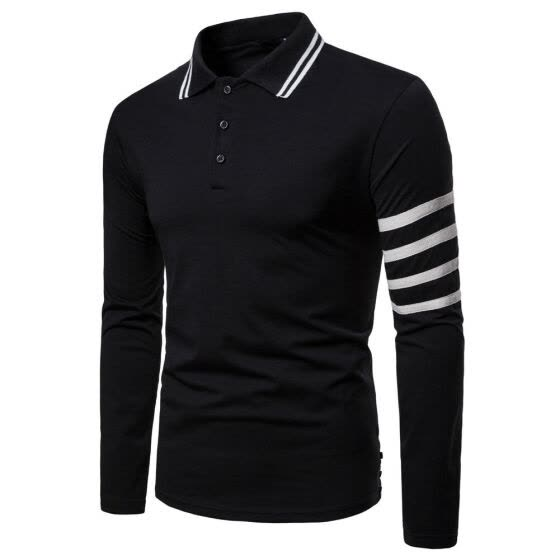 SUNSIOM Men's Slim Fit Polo Shirts Long Sleeve Casual Golf T-Shirt Tops Tee Button Down