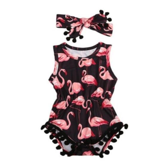 US Flamingo Newborn Baby Girls Romper Jumpsuit Bodysuit Outfits Clothes Sunsuit