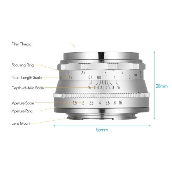 Andoer 35mm F1.6 Manual Focus Lens Large Aperture Compatible with Canon M1/ M2/ M3/ M5/ M6/ M10/ M100/ M50 EOS M-Mount