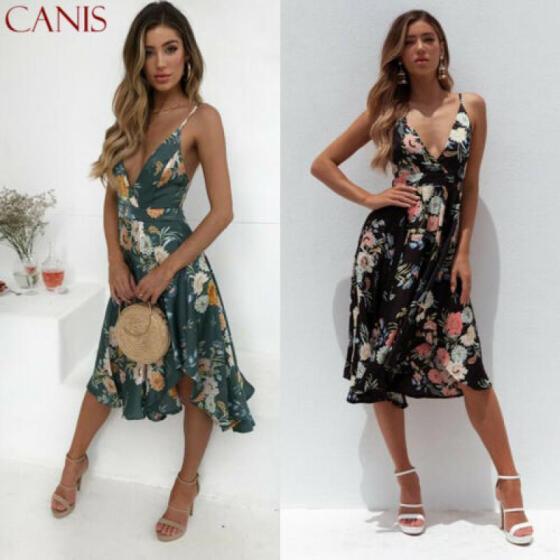 Women Boho Floral Holiday Maxi Dress Summer Evening Party Beach Slit Sundress