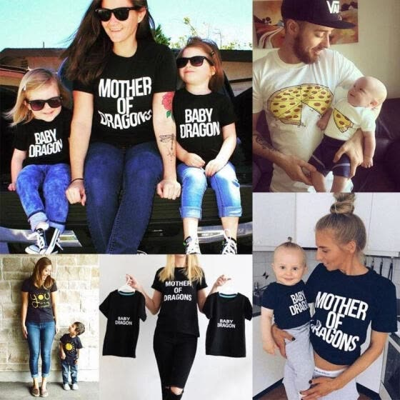 Family Clothes Mother Father Baby Girls Boy Kid Summer Tees Shirt T-shirt Tops