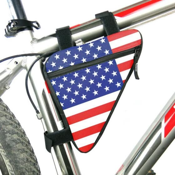 American Flag Waterproof Triangle Cycling Bicycle Bags Front Tube Frame Bag Mountain Triangle Bike Pouch Holder Saddle Bag