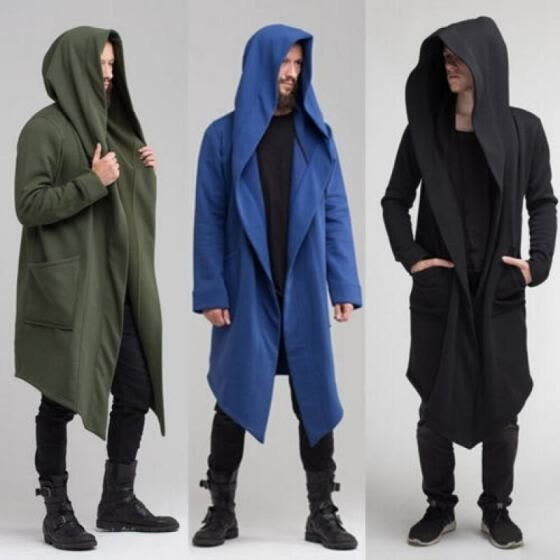 Men's Autumn Cardigan Hoodie Warm Hooded Coat Jacket Burning Man Costume Cosplay