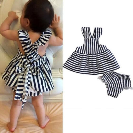 Newborn Infant Baby Girls Kid Bowknot Dresses Shorts Sunsuit Outfits Set Clothes