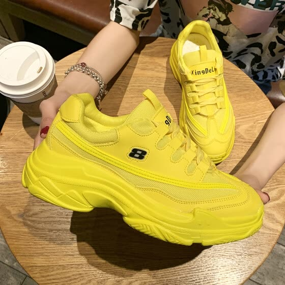 Fluorescent green father shoes ins tide 2019 summer network celebrity net breathable super fire thick soled sneakers