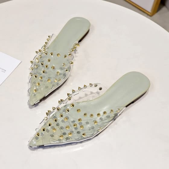 Half-packed slippers female outside wearing stylish pointed head flat bottom hollow rivet lazy casual summer cool drag