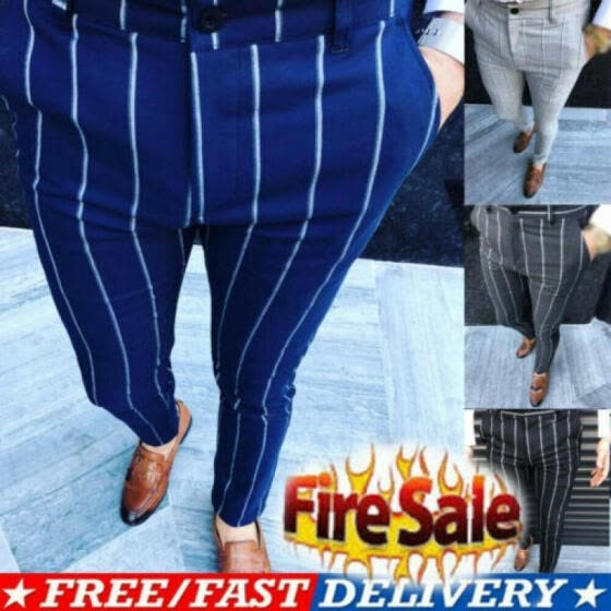 US STOCK Mens England Retro Dress Pants Formal Plaid Stripe Pants Casual Trouser