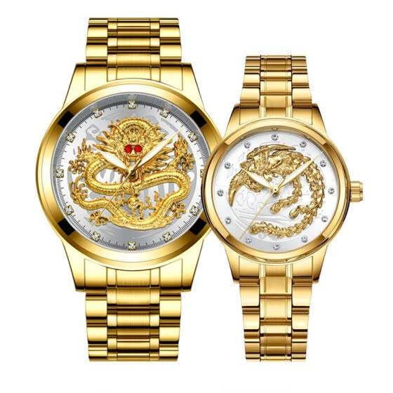 2 pcs luxury diamonds Couple watches golden Dragon Phoenix stainless steel watch for men and women fashion lovers gift clock
