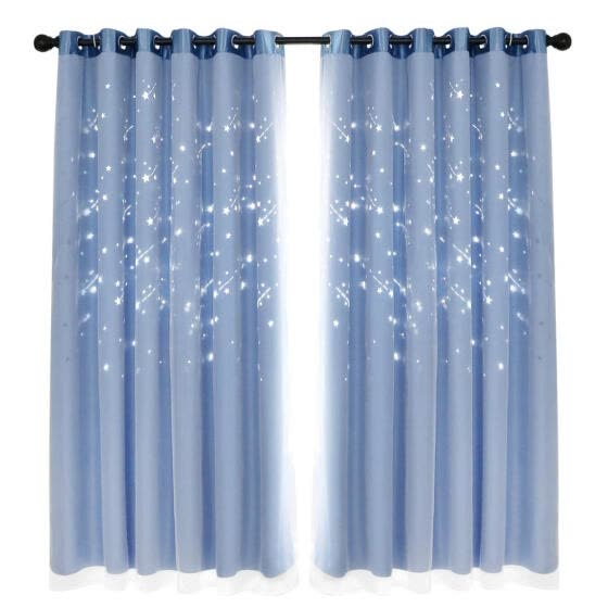 2pcs Star Shower Hollow Yarn Blackout Curtains Windows