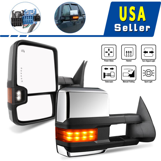 CHROME POWERED+HEATED+LED TURN SIGNAL TOWING MIRROR RIGHT FOR 03-06 TAHOE//YUKON