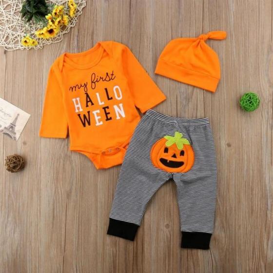 Infant Baby Boy Kids Pumpkin Halloween Newborn Cosy Romper Jumpsuit Bodysuit