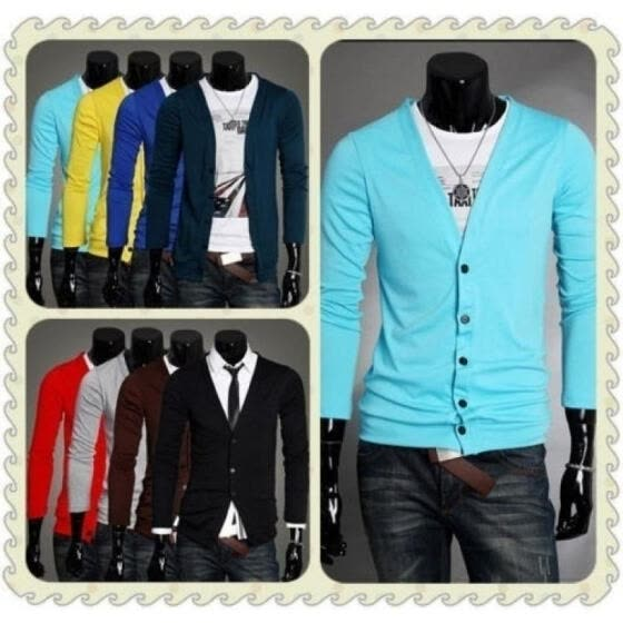 8 Colors Casual Mens Long Sleeves Knitwear Slim Fit V-neck Cardigan Sweater