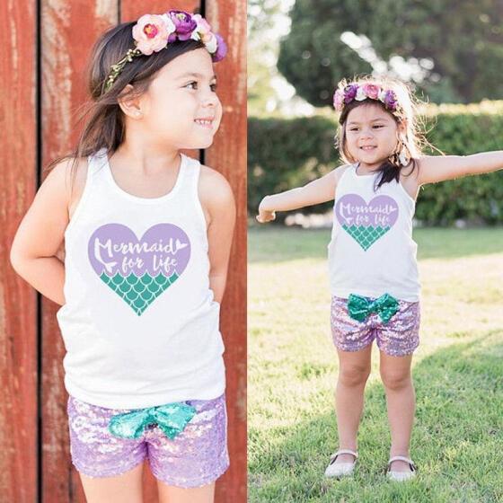 US Kid Baby Girl Little Mermaid 3pcs Clothes Tops T shirt Short Pants Outfit Set