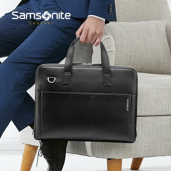 Samsonite / Samsonite Briefcase Leather Business Casual Handbag Fashion Men Bag Horizontal Business Bag Black TO2 * 09002
