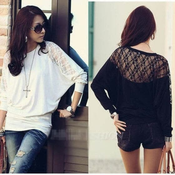 LH Women's Ladies Batwing Blouse Tops T-Shirt Dolman Lace Long Sleeves M-XXL