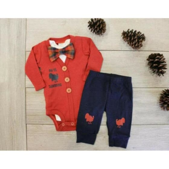 My First Thanksgiving Baby Boy Outfit Bodysuit Romper Jumpsuit+Turkey Pants 3Pcs