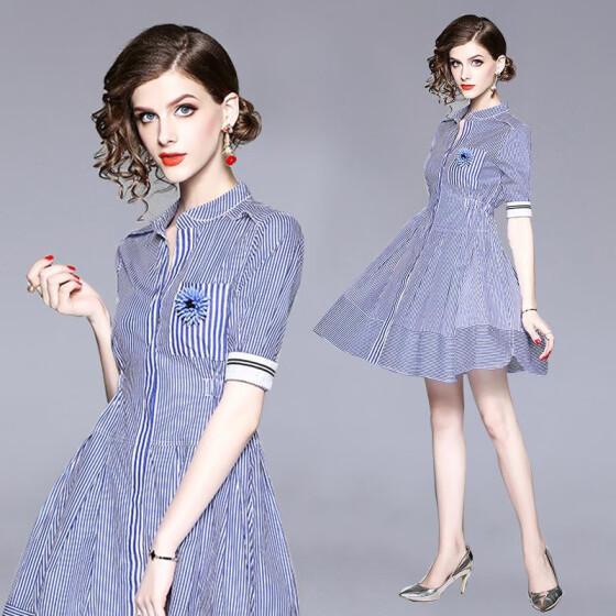 56487b8ce6b4 S M L XL elegant new summer 2019 midi dress women short sleeve blue striped  A line office