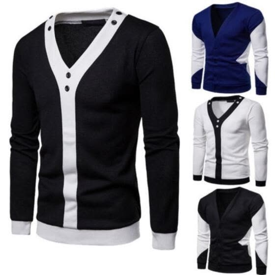 Men Soft Casual Long Sleeve Sweater Cardigan V-Neck Jacket Coat Outwear
