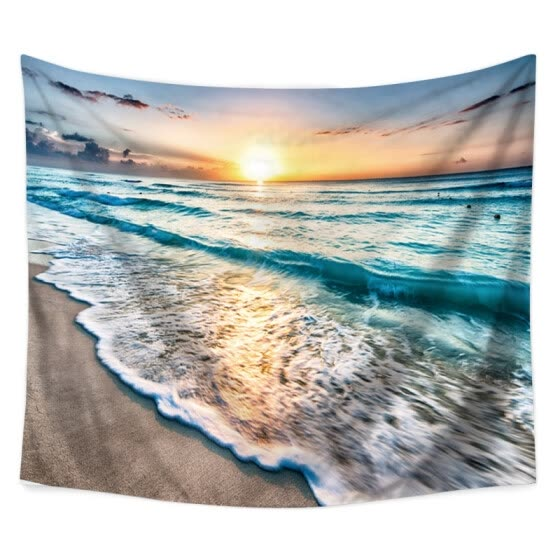 Seascape Ocean Waves Tapestry Polyester Fabric Hippie Bohemian Print Home Decor Wall Hanging Tapestry Beach Throw Blanket