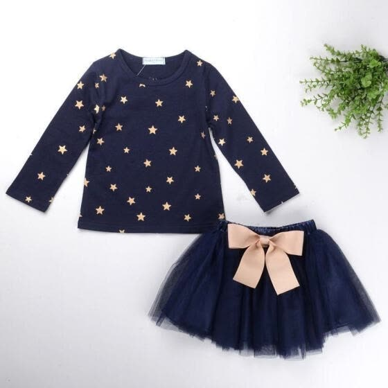 Kids Baby Girls Princess Party Dress Navy Tops+Tutu Skirts 2PCS Clothes 2-7T