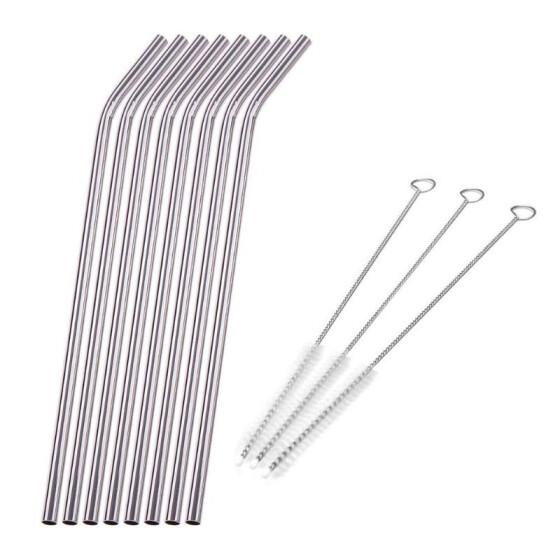 1Set Kitchen Tools 2pcs Stainless Steel Metal Drinking Straws+Brush for Mug