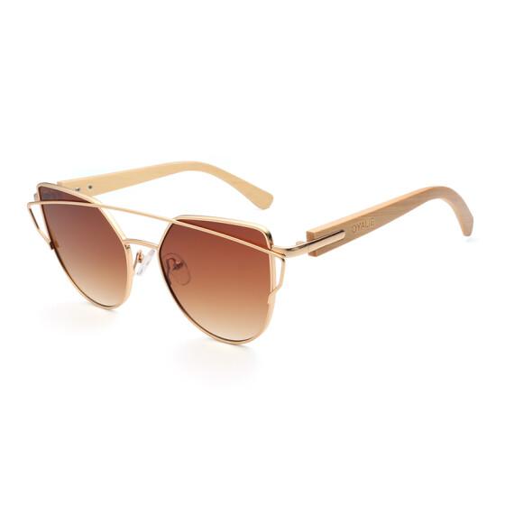 Bamboo Cat Eye Sunglasses Polarized Metal Frame Wood Glasses Lady Luxury Fashion