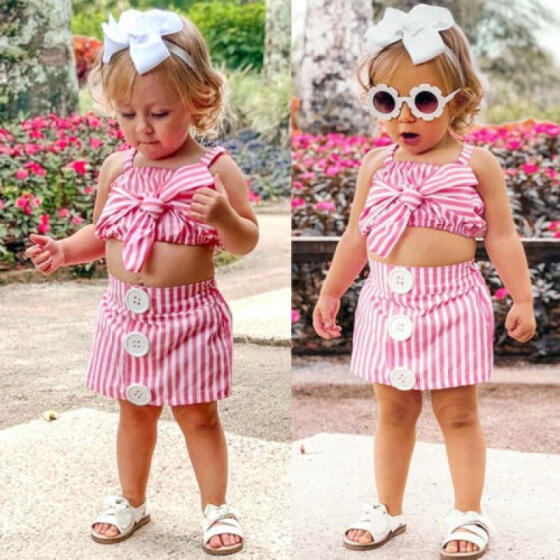 Toddler Kids Baby Girls Striped Crop Tops Tulle Skirt Summer Outfit Set Clothes