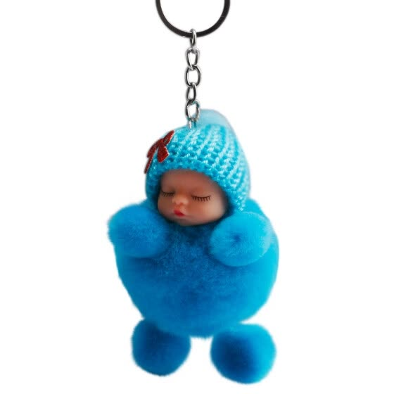Tailored Cute Sleeping Baby Bowtie Fluffy Pompom Fur Plush Doll Keychain Keyring Key Ring