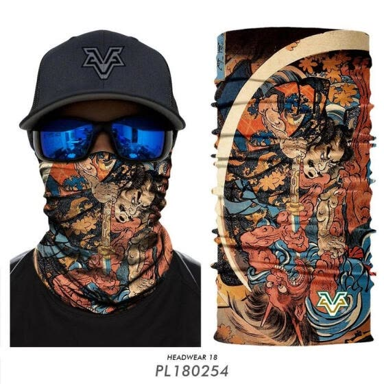 Retro European and American style tattoo pattern personality punk hair band face towel windproof sunscreen magic headscarf mask