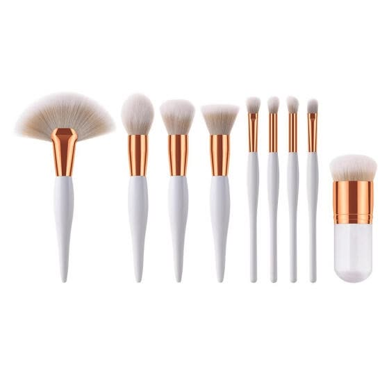9pcs Soft Hair Wood Handle Eye Shadow Fan Flat Shape Makeup Brushes Set Kit