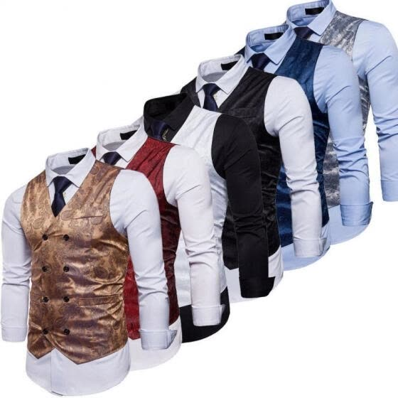 Fashion Formal Mens Vest Sleeveless Waistcoat Coat Jacket Business Floral M-2XL