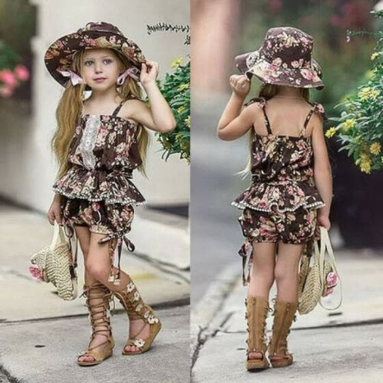 2Pcs Summer Toddler Kids Clothing Baby Girls Cute Strap Floral Vest Tank Tops+Shorts Pants Outfits Clothes Set