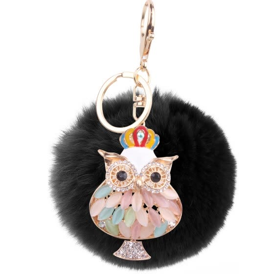 Rex rabbit hair owl bag plush hair ball mobile phone pendant small gift jewelry