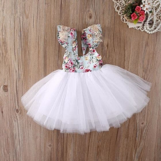 Kids Baby Girls Floral Dress Party Ball Gown Formal Dresses Backless Sundress