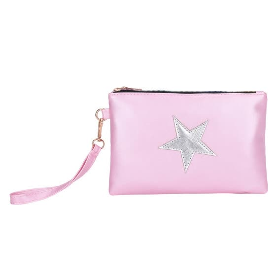 Factory direct new non-profit Women Fashion Leather Star Pattern Zipper Clutch Bag Coin Bag Makeup Pouch