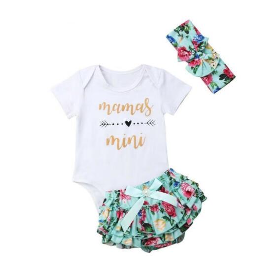 3PCS Newborn Baby Girl Tops Romper Floral Tutu Shorts Outfits Set Clothes 0-24M