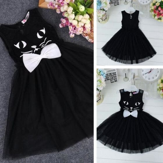 Cat Bow fashion Baby Girls Princess Dress Party casual Kids Holiday Dresses 2 4 6