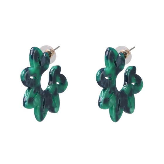ZA 2019 Hot Acrylic Resin Green Leaves Dangle Earring For Women Fashion Tortoiseshell Geometry Acetate Party Jewelry Brincos