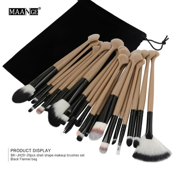 〖Follure〗20pc Cosmetic Makeup Brush Blusher Eye Shadow Brushes Set Kit With Flannel Bag