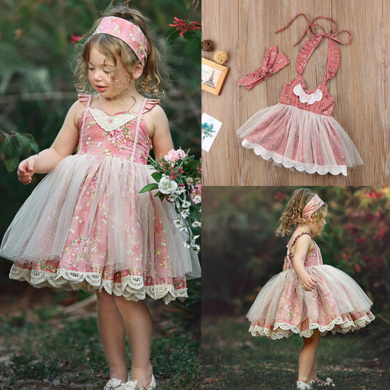 US Stock Toddler Kids Girls Summer Floral Pageant Party White Lace Dress Dresses