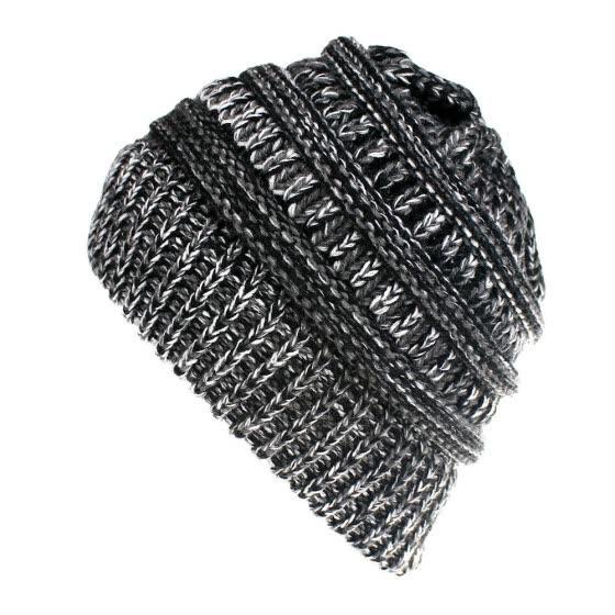 34fdda9de9a Women s Girl Stretch Knit Hat Messy Bun Ponytail Beanie Holey Warm Hats  Winter