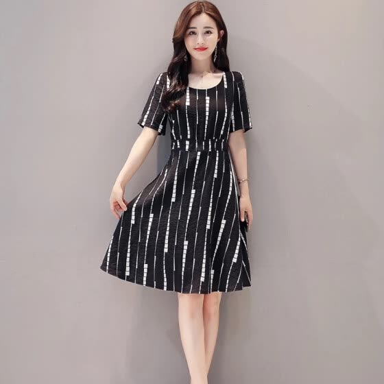 Fashion Women Summer Autum Striped Femme Dress Dresses Casual Plus Size Woman Clothes Beach White Sexy Mini Clothing