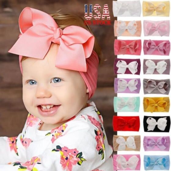 Baby Girls Kids Toddler Bow Knot Hairband Headband Stretch Cloth Head Wrap New