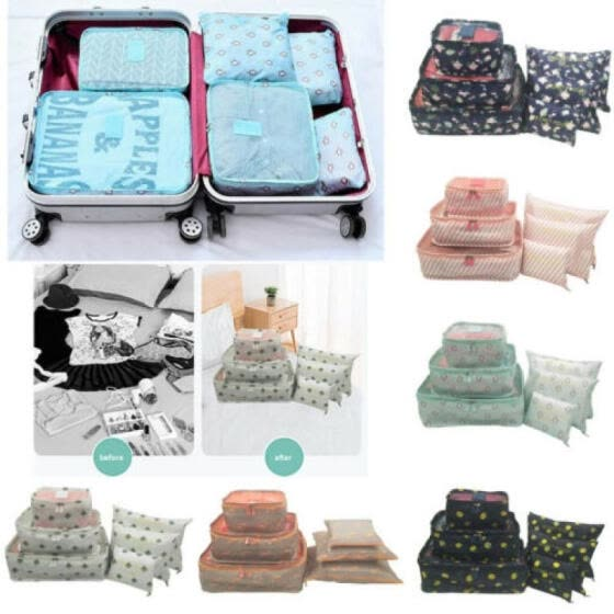 6Pcs Portable Travel Storage Bag Clothes Packing Cube Luggage Organizer Set